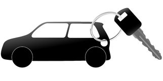 Auto symbol and car key on a shiny ring Stock Images