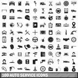 100 auto symboler för tjänste- mitt ställde in, enkel stil Royaltyfri Foto