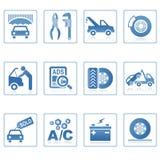 auto symbolssymboler utför service rengöringsduk Arkivbilder