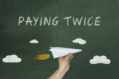 Auto tax paying twice concept. Tax paying twice concept on green blackboard Stock Photography