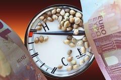 Auto thermometer ten euro banknotes and hemp seeds Stock Photos