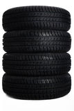 4 auto tires close Stock Photo