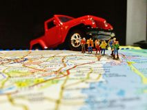 Car travel  usa jeep  wrangler backpackers map Royalty Free Stock Images