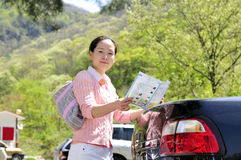 Auto tourist - Korean young woman Royalty Free Stock Images