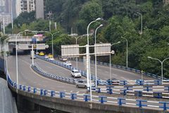 Auto Traffic in Chongquin, China. This is traffic on a highway in Chongquin, China Stock Photo