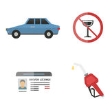 Auto transport motorist icon symbol vehicle equipment service car driver tools vector illustration. Stock Photos