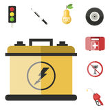 Auto transport motorist icon symbol vehicle equipment service car driver tools vector illustration. Royalty Free Stock Photos
