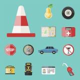 Auto transport motorist icon symbol vehicle equipment service car driver tools vector illustration. Stock Photo