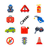 Auto transport motorist icons symbols change vehicle automobile mechanic and equipment symbols service car driver tools Royalty Free Stock Photo