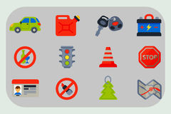 Auto transport motorist icons symbols change vehicle automobile mechanic and equipment symbols service car driver tools Stock Photo