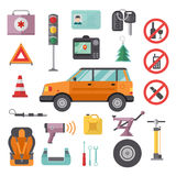 Auto transport service and car tools icons high detailed vector set. Royalty Free Stock Photography