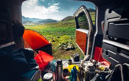 Auto Travel, tourism, adventure concept. Picturesque mountain la stock photos