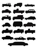 Auto and truck collection in silhouette Royalty Free Stock Photography