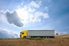 Auto truck goes on the way Royalty Free Stock Photography
