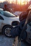 Auto trzask na zimy miasta ulicie Zdjęcie Royalty Free