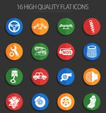Auto tuning 16 flat icons. Auto tuning web icons for user interface design Stock Illustration