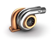 Auto turbine 3D concept. Steel turbocharger  on white. Stock Image