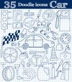 Auto und Antrieb Satz der Ikone mit 35 Gekritzeln in den blauen Farben auf Notizbuch Stockfoto