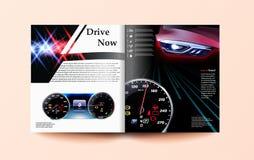 Auto- und Fahrerzeitschriftenschablone Geschwindigkeitsmesser und Auto Abbildung 3D stock abbildung
