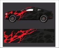 Auto- und Fahrzeugzusammenfassung, die grafischen Ausrüstungshintergrund für Verpackungs- und Vinylaufkleber läuft lizenzfreie abbildung