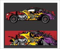 Auto- und Fahrzeugzusammenfassung, die grafischen Ausrüstungshintergrund für Verpackungs- und Vinylaufkleber läuft vektor abbildung