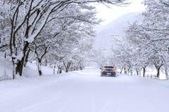 Auto und fallender Schnee im Winter auf Waldweg mit vielem Schnee Stockfotografie