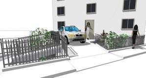 Auto und Geländer Stockbild