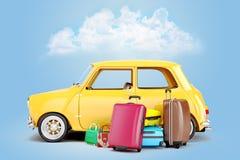 Auto und Gepäck der Karikatur 3d Lizenzfreie Stockfotografie