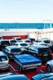 Auto- und Passagierfähre in Norwegen stockbilder