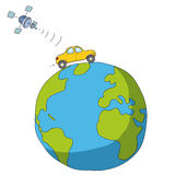 Auto und Satelitte Stockbild