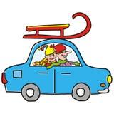 Auto und Schlitten Stockfoto