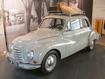 Auto Union 1000 S. A red Auto Union 1000 S exposed in the Audi Museum in Ingolstadt (Germany Royalty Free Stock Photos