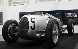 Auto Union Type C Grand Prix Car. The Auto Union Type C Grand Prix Car at the Audi Motorsports Legends exhibition in Singapore's national museum in 2008 stock photos