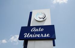 Auto Universe Used Car Dealership. Auto Universe sells pre-owned Gmc, Chevy, ford, Toyota, and other high end luxury major brands of automobiles royalty free stock photography