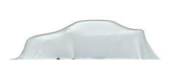 Auto unter Tuch, Seitenansicht, mit Ausschnittspfad Lizenzfreie Stockbilder