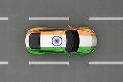 Auto van de vlag die van het land van India wordt geschilderd Stock Afbeelding
