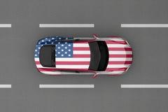 Auto van de vlag die van het land van de V.S. wordt geschilderd Stock Fotografie