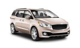 Auto van koper de Generische Minivan op Witte Achtergrond De mening van het perspectief 3D Illustratie met Geïsoleerde Weg vector illustratie