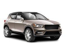Auto van koper de Generische SUV op Witte Achtergrond Zijaanzicht met Geïsoleerde Weg stock illustratie