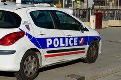 Auto van politie in Parijs Stock Afbeeldingen