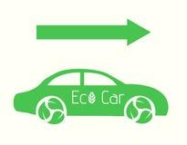 Auto Vecror Eco mit Pfeil-flacher Illustration eps10 Lizenzfreie Stockfotografie
