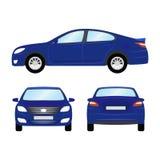 Auto vectormalplaatje op witte achtergrond Bedrijfs geïsoleerde sedan blauwe sedan vlakke stijl zij achtergevelmening Stock Afbeeldingen