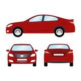 Auto vectormalplaatje op witte achtergrond Bedrijfs geïsoleerde sedan rode sedan vlakke stijl zij achtergevelmening Royalty-vrije Stock Fotografie