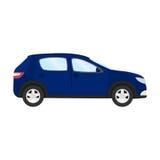 Auto vectormalplaatje op witte achtergrond Bedrijfs geïsoleerde vijfdeursauto blauwe vijfdeursauto vlakke stijl Zachte nadruk Stock Afbeelding
