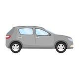 Auto vectormalplaatje op witte achtergrond Bedrijfs geïsoleerde vijfdeursauto grijze vijfdeursauto vlakke stijl Zachte nadruk Stock Fotografie