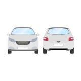 Auto vectormalplaatje op witte achtergrond Bedrijfs geïsoleerde vijfdeursauto witte vijfdeursauto vlakke stijl Voor en achtermeni Stock Foto's