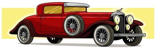 Auto-Vektorluxusikone der Retro- Weinlese der Karikatur rote lizenzfreie abbildung