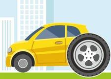 Auto, vervanging van wielen, banden, gekleurde illustratie Stock Afbeeldingen