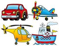Auto, vliegtuig, schip en helikopter royalty-vrije illustratie