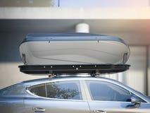 Auto voor het reizen met een dakrek het 3d teruggeven Stock Fotografie